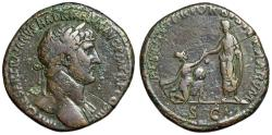 "Ancient Coins - Hadrian AE Sestertius ""RESTITVTORI ORBIS TERRARVM Kneeling Woman"" RIC 594b"