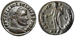 "Ancient Coins - Licinius I AE Follis ""GENIO IMPERATORIS Genius, Star Crescent"" Heraclea Scarce"