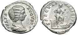 "Ancient Coins - Julia Domna (Wife of Septimius) AR Denarius ""SAECVLI FELICITAS Isis, Horus"" VF"