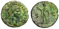 "Ancient Coins - Domitian as Caesar AE As ""Bare Head & Spes Walking"" 77-78 AD RIC 1292 Rare EF"