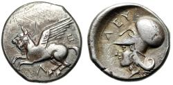"Ancient Coins - Akarnania, Leukas AR Stater ""Pegasus Flying & Athena, Lizard"" VF Very Rare"