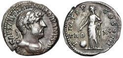 "Ancient Coins - Hadrian AR Denarius ""PRO AVG Providentia, Globe"" Rome RIC 133c Good Fine"