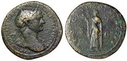 "Ancient Coins - Trajan AE Sestertius ""Spes Walking, Holding Flower"" Rome 103-111 AD RIC 519"