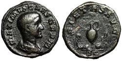 """Ancient Coins - Maximus Caesar AE As """"PIETAS AVG SC Priestly Emblems"""" Rome 236-238 AD RIC 12b gF"""