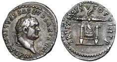 "Ancient Coins - Titus AR Denarius ""Pulnivar (Throne) of Jupiter, Thunderbolt"" 80 AD Near EF"