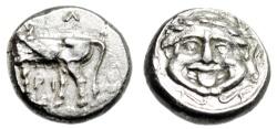 "Ancient Coins - Mysia, Parion (Parium) Silver Hemidrachm ""Bull & Facing Gorgon"" Extremely Fine"