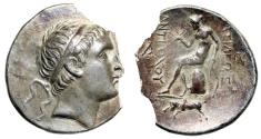 "Ancient Coins - Seleukid: Antiochus III AR Tetradrachm ""Apollo, Bull Butting Exergue"" Very Rare"
