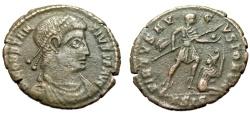 "Ancient Coins - Constantius II AE3 ""VIRTVS AVGVSTORVM War Gear, Captive"" RIC 295 Scarce gVF"