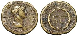 "Ancient Coins - Trajan AE Dupondius ""DAC PARTHICO,  SC Within Oak Wreath"" Rome 116 AD RIC 647 VF"