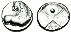 "Ancient Coins - Thrace, Chersonesos Silver Hemidrachm ""Forepart Lion & Incuse, Pellet & Wreath"" EF"