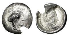 "Ancient Coins - Cilicia, Holmoi AR Obol ""Athena & Apollo Portraits"" VF"