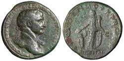 "Ancient Coins - Trajan AE Sestertius ""ALIM ITAL Abundantia"" RIC 459 Nice Portrait, Green Patina"