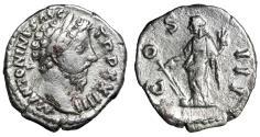 """Ancient Coins - Marcus Aurelius AR Denarius """"COS III Fortuna, Rudder"""" RIC 197 Rare"""