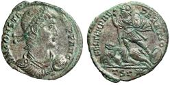 """Ancient Coins - Constans I Silvered Centenionalis """"Bust Holding Globe / Battle Scene"""" gVF"""