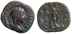 "Ancient Coins - Gordian III Sestertius ""PAX AETERNA Pax Running"" Rome 240 AD RIC 319a Fine"
