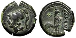 """Ancient Coins - Campania, Cales AE19 """"Helmeted Athena & Cock (Rooster), Star"""" VF"""