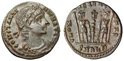 "Ancient Coins - Constantine I The Great AE16 ""GLORIA EXERCITVS Soldiers, Alexandria RIC 65 EF"