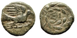 "Ancient Coins - Sikyonia, Sikyon AE Chalkous ""Dove Flying & SI in Wreath"" Circa 250-200 BC Rare"