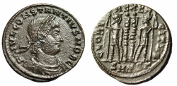 "Ancient Coins - Constantius II AE19 ""GLORIA EXERCITVS Roman Soldiers in Arms"" Thessalonica gVF"