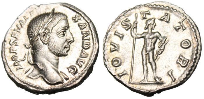 "Ancient Coins - Severus Alexander Silver AR Denarius ""IOVI STATORI Jupiter"" RIC 202 Near MS"