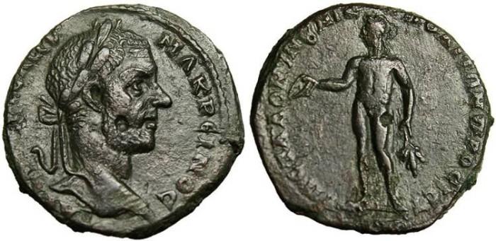 "Ancient Coins - Macrinus, AE21 ""Apollo"" Moesia, Nicopolis EF Fine Style Portrait"