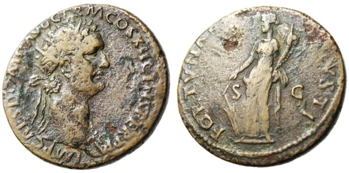 "Ancient Coins - Domitian Orichalcum Dupondius ""Fortuna"" Rome RIC 293 SCARCE"