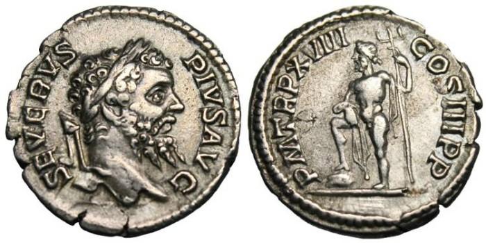 """Ancient Coins - Septimius Severus, AR Denarius """"Neptune"""" RIC 234 VF"""