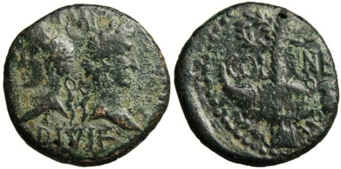 "Ancient Coins - Augustus & Agrippa AE As ""Crocodile Chained to Palm"" Gaul, Nemausus"