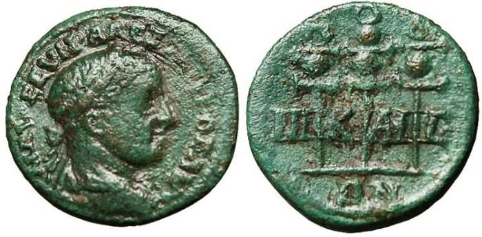 "Ancient Coins - Severus Alexander, AE19 ""Three Standards"" Bithynia Nicaea VF"