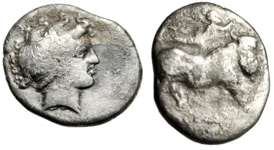 "Ancient Coins - Budget Campania, Neapolis Silver Nomoros ""Man Headed Bull, Nike"" 4th Century BC"