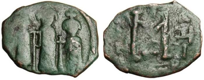 """Ancient Coins - Heraclius, AE Follis """"Heraclius, Heraclius Constantine, and Martina"""" Constantinople SB 808"""