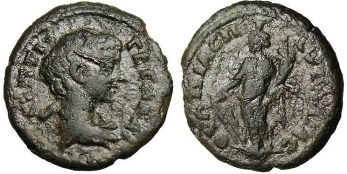 "Ancient Coins - Geta, AE 19 ""Tyche"" Thrace, Pautalia"