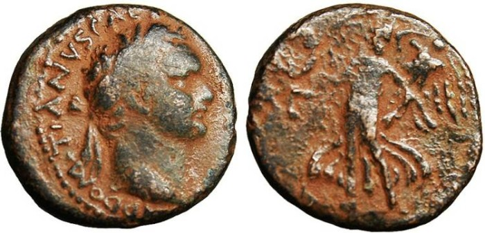 "Ancient Coins - Domitian, AE19 ""Victory With Trophy & Wreath"" Caesarea Judaea Capta"
