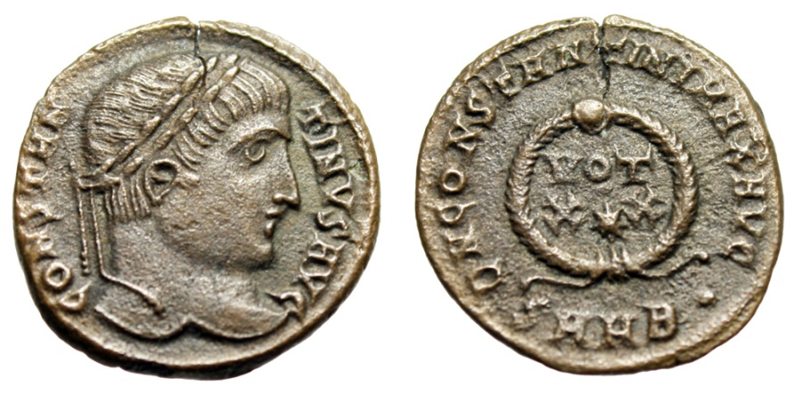 "Ancient Coins - Constantine I The Great AE19 ""VOT XX, Star Wreath"" Heraclea 324 AD About EF"