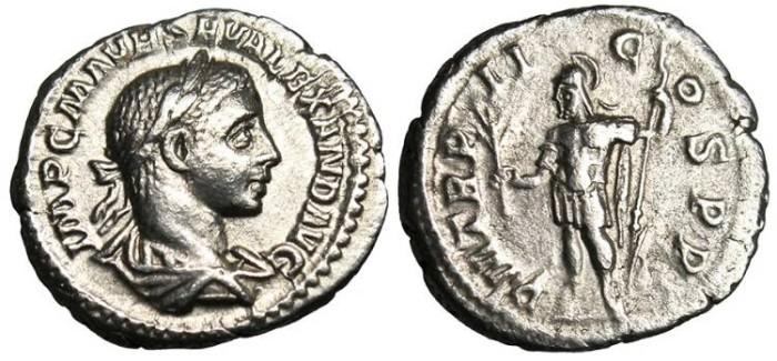 "Ancient Coins - Severus Alexander, AR Denarius ""Mars"" Rome RIC 23 VF"