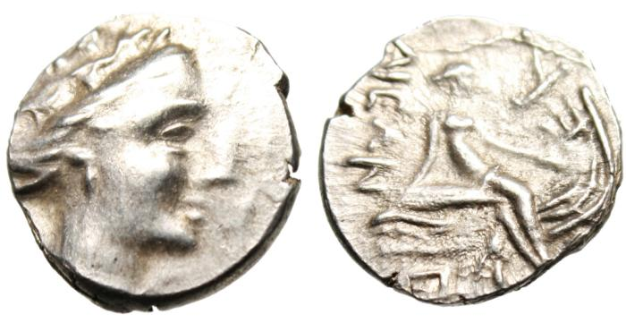 "Ancient Coins - Euboia, Histaia Silver AR Tetrobol ""Nymph on Prow, Trident TI Below"""
