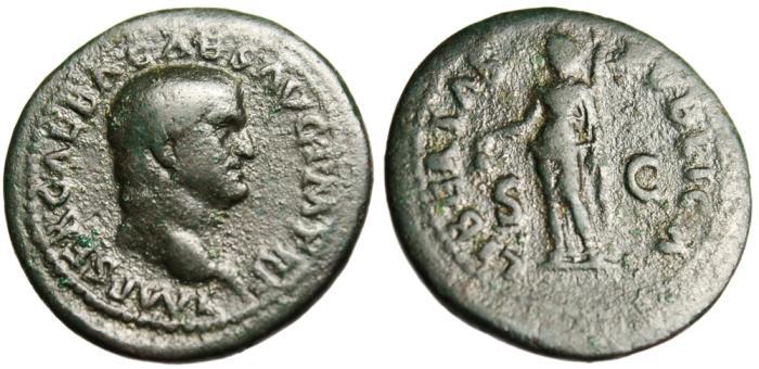 """Ancient Coins - Galba AE As """"Libertas Holding Pileus"""" Rome 68-69 AD RIC 366"""