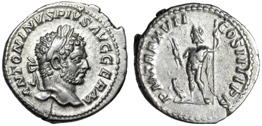 "Ancient Coins - Caracalla AR Denarius ""Jupiter With Thunderbolt"" Rome RIC 214 AD RIC 240 gVF"