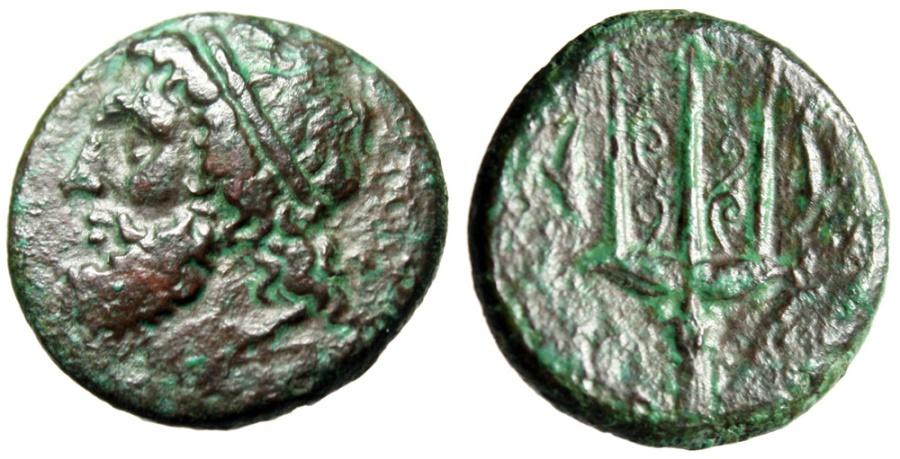 """Ancient Coins - Sicily, Syracuse AE22 """"Poseidon & Trident, Dolphins"""" Circa 275-216 BC"""
