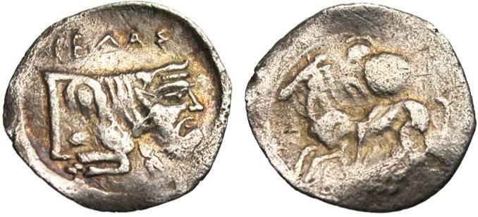 """Ancient Coins - Sicily, Gela AR Litra """"Bearded Horseman & Man Headed Bull"""" VF"""