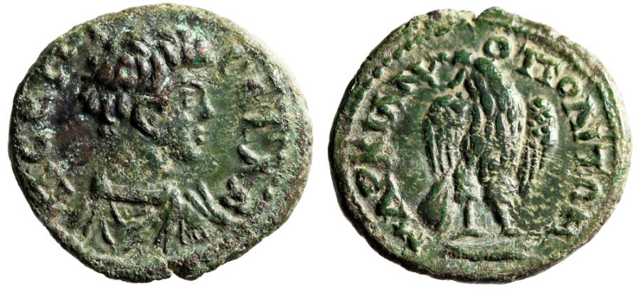 "Ancient Coins - Geta as Caesar AE18 of Markianopolis, Moesia ""Eagle Facing, Wings Half Open"" EF"