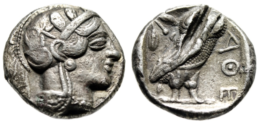 """Ancient Coins - Attica, Athens Silver Old Style Tetradrachm """"Athena & Owl"""" 454-404 BC Test Cut"""