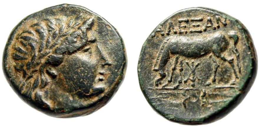 "Ancient Coins - Troas, Alexandria AE17 ""Apollo & Horse Grazing, Thunderbolt"" EF Scarce"