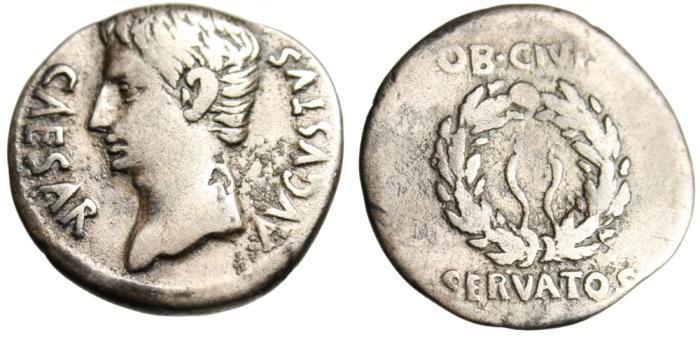 "Ancient Coins - Octavian Silver AR Denarius ""OB CIVIS SERVATOS Wreath"" Spain RIC 40b Very Rare"
