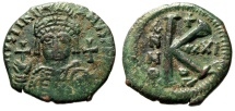 "Ancient Coins - Justinian I AE Half Follis ""Helmeted Bust Facing & Large K"" RY 21 Antioch Scarce"