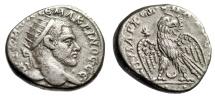 """Ancient Coins - Macrinus AR Tetradrachm """"Radiate Bust & Eagle, Crescent"""" Carrhae Scarce nEF"""