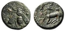 """Ancient Coins - Ionia, Ephesos (Ephesus) AE15 """"Bee & Stag, Astragalus"""" Circa 305-288 BC"""