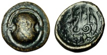 """Ancient Coins - Boeotia, Federal Coinage AE14 """"Boeotian Shield & Trident, Dolphin"""" aVF"""