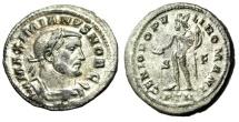 """Ancient Coins - Galerius Caesar Silvered Follis """"GENIO POPVLI ROMANI Genius"""" Trier RIC 602b gVF"""
