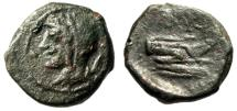 """Ancient Coins - Sicily, Panormos Under Roman Rule """"Veiled Demeter & Prow, Monogram"""" After 241 BC"""